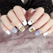 Classical Rivets False Bails with Designs 24pcs White Grey Short Square Nail Tips Kawaii nails fake Full Cover