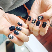 Yunail 24 pcs Sunflower Oval Fake Nails Short Black Solid Nail Tips with Design in acrylic box gel colour