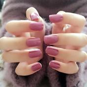 YuNail 24pcs Sexy Purple Pink False Nails Clear Short Square Nail Tips Kawaii Solid Colour nails fake Full Cover