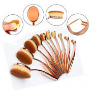 10PCS Multifunctional Oval Toothbrush Curve Makeup Brushes Set Eyebrow Eyeshadow Eyeliner Lip Powder Foundation Brush Cosmetic Tool for Face and Eyes Beauty,Rose Golden
