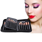 BeautyGal Professional 29pcs Animal Hair Cosmetic Makeup Brushes Tool Set with Black Leather Cosmetic Case