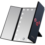 Miss Sweet Led Lighted Trifold Tabletop Mirror Makeup Mirror Table Mirror Vantiy mirror for Beauty Makeup