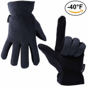 Winter Gloves, OZERO -40ºF Cold Proof Thermal Glove - Deerskin Suede Leather Palm and Polar Fleece Back with Heatlok Insulated Cotton Layer - Keep Warm in Cold Weather - Denim/Tan/Grey