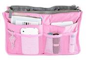 Liroyal Pink Handbag Pouch Bag in Bag Organiser Insert Organiser Tidy Travel Cosmetic Pocket Makeup Bag