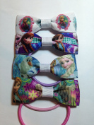 Frozen Multipack B of four handmade hair bobbles for your princess / princesses featuring Elsa Anna and Olaf for girls baby four different hair bows