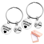 """Top Plaza Set of 5.1cm You're My Person"""" Pinky Promise Antique Silver Alloy Key Chain Key Ring Valentines Christmas Gift W/box"""
