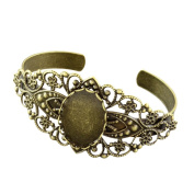 Beadthoven 2pcs Filigree Brass Cuff Bangle Makings, Bangle Blanks with Oval Bezel Tray, Antique Bronze, 56mm; tray