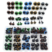 100pcs 10/12/14/16/18mm 5 Sizes in a Box Assorted Colours Plastic Safety Eyes for Teddy Bear Doll Animal Puppet Craft