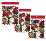 Christmas Holiday Peel & Stick Multi-Colour Medium Size Decorating Bows - 108 Count, 7.6cm - 10cm