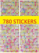 780pcs Bling 6mm Multicolor Sheet Diamond Crystal Rhinestone Gem Self Adhesive Stickers