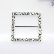 16pcs 34mm x 34mm Silver Square Shaped Rhinestone Buckle Slider for Wedding Invitation Letter