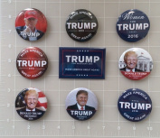 Donald Trump Set of 9 Best Seller Campaign Buttons - Buttons measure 5.7cm