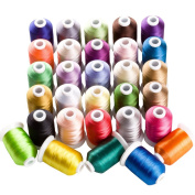 CR INDUSTRY 30 Spools Polyester Embroidery Machine Thread Assorted Colours for Brother Janome Pfaff and Most Home Embroidery Machines