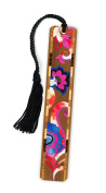 Floral - Flowers - In Colour Wooden Bookmark with Tassel