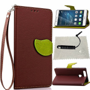 Huawei P9 Case Brown,Huawei P9 Wallet Case,Huawei P9 Flip Cover,TOCASO Leaf Design Soft Slim PU Leather with Strap Lanyard Silicone Back Inner Case Folio Book Style Portable Carrying Protective Cases Covers Anti Scratch Bumper Shell Money Pocket ID/Cre ..