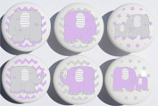 Purple Elephant Drawer Pulls / Elephant Nursery Decor Ceramic Drawer Knobs, 6 Set