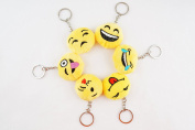 Multi-Set ~ Mini 3.8cm 3.8cm Round Emoji Face Keychain Key Chain Plush Toy Ring Emoticon Yellow Smiley Soft Cushion Gift US SELLER  .  Set of 6B)