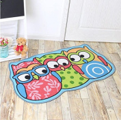 Kids Rug Cartoon Owl Carpet Children Area Rug - for Bedroom Playroom & Nursery -Non Skid Gel Backing