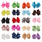 DUOQU 20 Pcs Multicolor Baby Girl Grosgrain Solid Ribbon Boutique Big Hair Bows Alligator Clips Fashion Hair Accessories For Teens Baby Girls Babies Toddlers