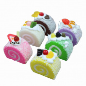 Transcend11 6pcs Colourful Simulation Fruits Swiss Roll Artificial Fake Cake Bread Desert Food Model Kids Toy Home Kitchen Party Decoration Store Market Display Photography Props