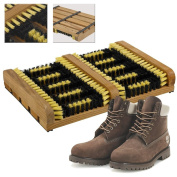 Portable Wooden Heavy Duty Double Shoe & Boot Brush Scraper Outdoor Mat
