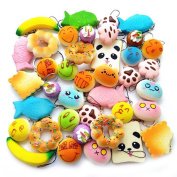 Random 20Pcs Colourful Mini Slow Rising Squishy Bread Bun Donuts Cute Face Phone Straps Charm Squeeze Toy