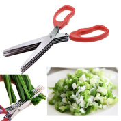 BBolive Red Herb Scissors Multipurpose Kitchen Shears Stainless Steel 5 Blade with Cleaning Brush
