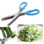 BBolive Blue Herb Scissors Multipurpose Kitchen Shears Stainless Steel 5 Blade with Cleaning Brush