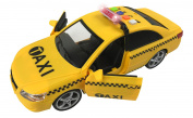 Friction Powered Yellow Taxi Cab 1:16 Toy Car Vehicle with Lights & Sounds