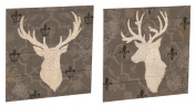Rustic Elegance Buck Outdoor Wooden Plank Art Set Of 2