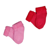 Baby Girls Pretty Princess Gift Socks Socks Terry Towel Set of 2 Pink/Red Uni Size 21 - 23) Knees & Toes