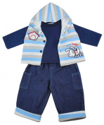 Boys Baby Little Buddy 3 Piece Hoody Gilet Top & Jeans Set Outfit sizes from 3 to 12 Months