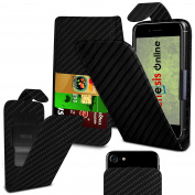 (Black Carbon) HTC Desire 650 case PU Thin Leather Protective Clamp Case Vertical Executive Side Pouch Holster Flip Case Skin cover Phone Holder Pop Up Camera Photo Case by Genesis Online®