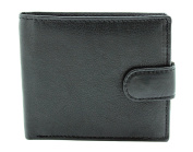 RAS® MENS HIGH QUALITY LUXURY SOFT BROWN / BLACK SMOOTH LEATHER TRI FOLD WALLET WITH MULTI CREDIT CARD SLOTS & ID WINDOW
