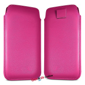(Hot Pink) Doro 8030 case Luxury Premium Quality PU Faux Leather Protective Slip Pouch Pull Tab Cord Case Skin Cover by Genesis Online®