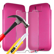 (Hot Pink) Doro 8030 case Luxury Premium Quality PU Faux Leather Protective Slip Pouch Pull Tab Cord Case Skin Cover + Tempered Glass screen protection by Genesis Online®