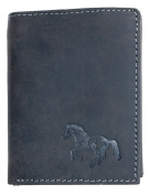 Natural grey strong genuine leather wallet with a horse