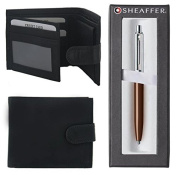 Number 1 Selling Executive Essentials - Designer Genuine Black Soft Real Leather Wallet with Designer Brown Sheaffer Pen Gift Set - Men Mens Man Gents Him - One Supplied