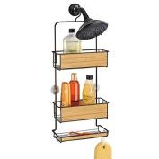 mdesign shower caddy for shampoo conditioner soap bronzeteak wood finish