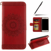 iPhone 6 Case,iPhone 6S Case,iPhone 6S Wallet Case Red,Felfy Elegant Embossing Series Vintage Floral Pattern Flip PU Leather Book Style Folding Wallet Case Stand View Cover with Magnetic Strap Closure Credit Card Holder Leather Pouch Slim,Protective Bu ..
