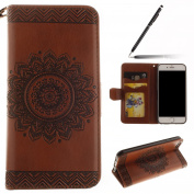 iPhone 6 Case,iPhone 6S Case,iPhone 6S Wallet Case Brown,Felfy Elegant Embossing Series Vintage Floral Pattern Flip PU Leather Book Style Folding Wallet Case Stand View Cover with Magnetic Strap Closure Credit Card Holder Leather Pouch Slim,Protective ..