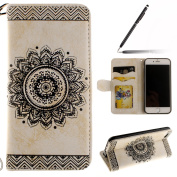 iPhone 6 Case,iPhone 6S Case,iPhone 6S Wallet Case White,Felfy Elegant Embossing Series Vintage Floral Pattern Flip PU Leather Book Style Folding Wallet Case Stand View Cover with Magnetic Strap Closure Credit Card Holder Leather Pouch Slim,Protective ..