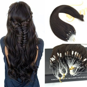 Sunny Loop Micro Ring Remy Human Hair Extensions 50 Strands Full Head Darkest Brown (Col 2) Hair Extensions 46cm 50gram 1g/strand