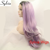 New arrival light purple ombre grey tips natural straight synthetic lace front wigs with dark roots heat resistant fibre hair