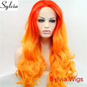 fashion fiery red orange 2 tone ombre body wave synthetic lace front wigs premium hot orange cosplay heat resistant fibre hair