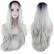 Royalvirgin Long Wave Ombre Silver Grey Synthetic Wig Middle Part Glueless Two Tone Natural Black/Grey Heat Resistant Hair Wigs with Bangs For Women