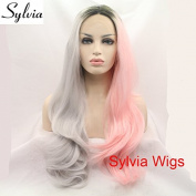 fashion Piano colour grey/pink 2T ombre natural straight glueless synthetic lace front wigs with dark roots heat resistant fibre hair