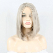 Arimika Short 30cm Bob Platinum Silver Grey Natural Heat Safe Synthetic Soft Bouncy Layered Lace Front Wig Decent Parting Space Transparent Lace