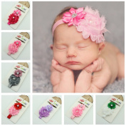 OULII 10 Colours Cute Infant Headband Baby Girls Sweet Flower Pearl Hair Accessories Photo Props Decoration