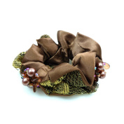 rougecaramel - Hair Accessories/Elastic Hair Scrunchie Set Fabric and Beads - Brown